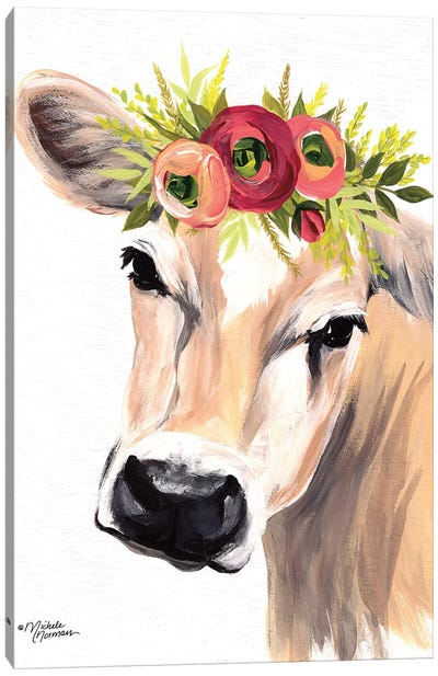 Jersey Cow with Floral Crown Canvas Art Print