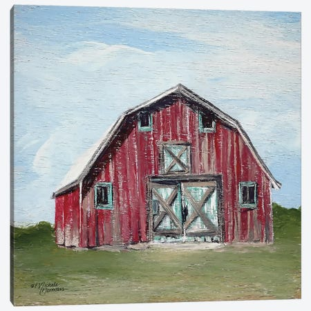Red Barn Canvas Print #MNO35} by Michele Norman Canvas Wall Art