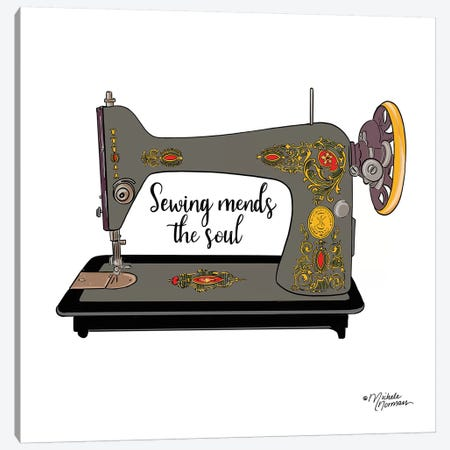 Sewing Mends the Soul Canvas Print #MNO36} by Michele Norman Canvas Wall Art