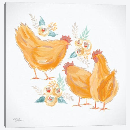 Trio of Floral Roosters Canvas Print #MNO38} by Michele Norman Art Print