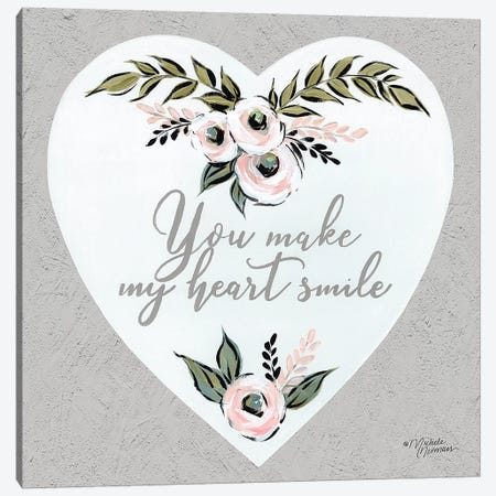 You Make My Heart Smile Canvas Print #MNO40} by Michele Norman Canvas Art