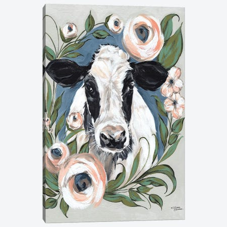 Vintage Frame Cow Canvas Print #MNO42} by Michele Norman Canvas Wall Art