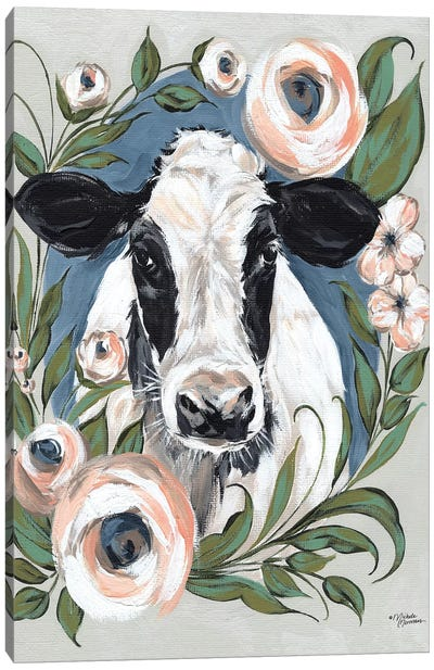 Vintage Frame Cow Canvas Art Print
