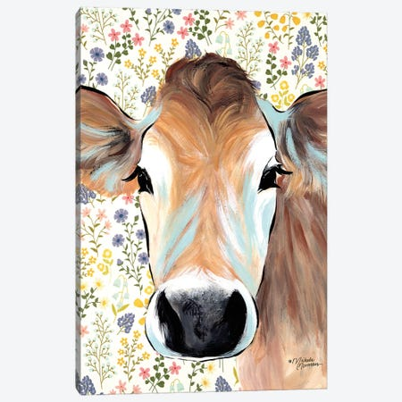 Bluebell Cow Canvas Print #MNO4} by Michele Norman Canvas Art