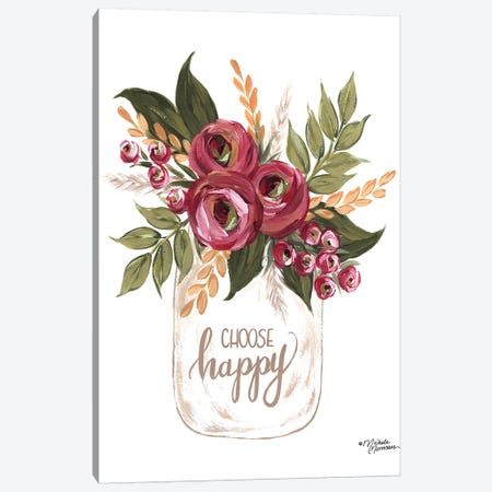 Choose Happy Flowers Canvas Print #MNO50} by Michele Norman Art Print