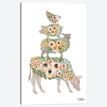Floral Stacked Animals Canvas Print #MNO54} by Michele Norman Canvas Art