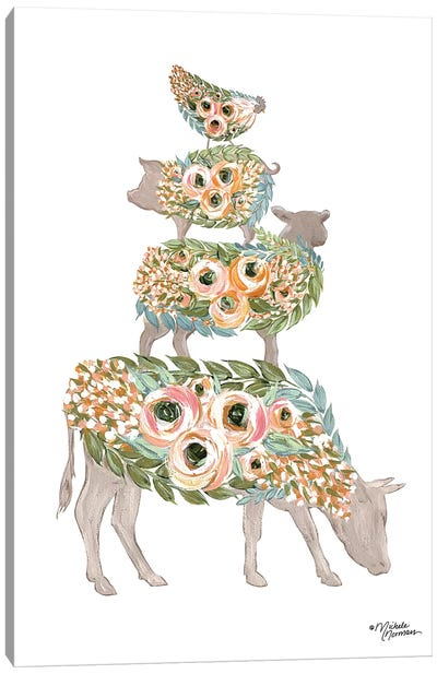 Floral Stacked Animals Canvas Art Print