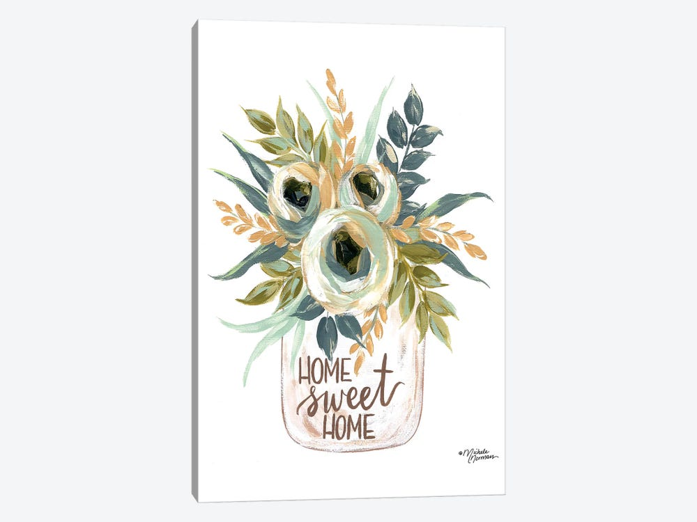 Home Sweet Home Flowers by Michele Norman 1-piece Canvas Wall Art