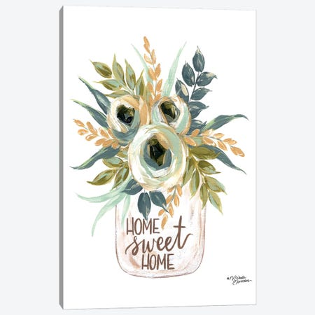 Home Sweet Home Flowers Canvas Print #MNO59} by Michele Norman Canvas Print