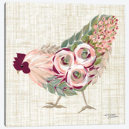 Botanical Rooster II Canvas Print #MNO5} by Michele Norman Canvas Artwork
