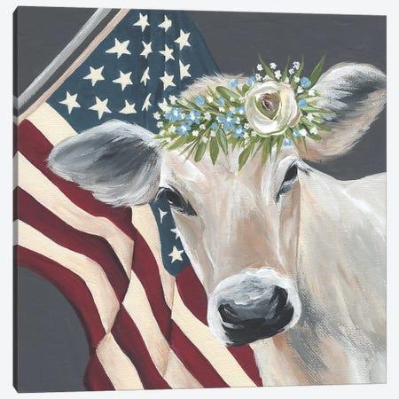 Patriotic Cow Canvas Print #MNO61} by Michele Norman Canvas Art