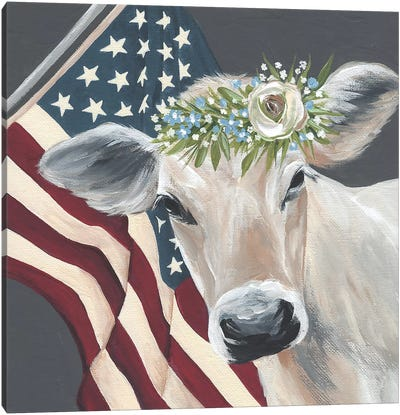 Patriotic Cow Canvas Art Print