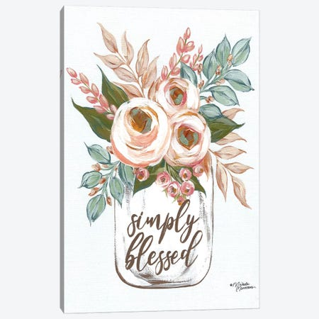 Simply Blessed Flowers Canvas Print #MNO64} by Michele Norman Art Print