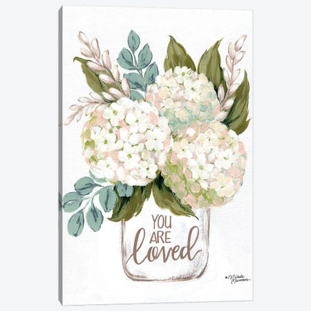 You Are Loved Flowers Canvas Print #MNO71} by Michele Norman Canvas Art Print