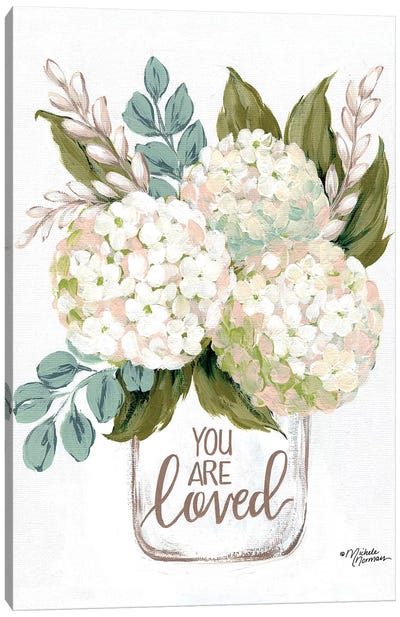 You Are Loved Flowers Canvas Art Print