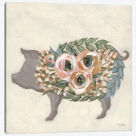 Alice The Pig Canvas Print #MNO76} by Michele Norman Canvas Wall Art