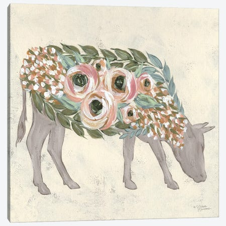 Annabelle The Cow Canvas Print #MNO77} by Michele Norman Canvas Artwork
