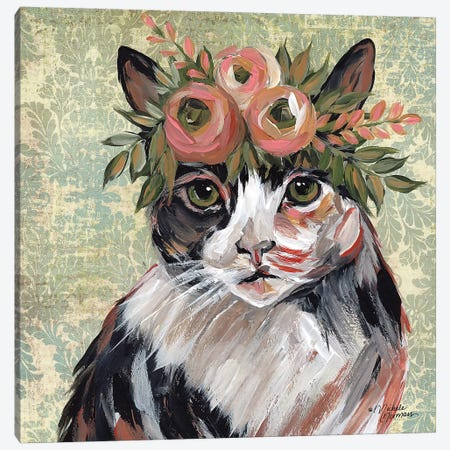 Cat with Floral Crown Canvas Print #MNO7} by Michele Norman Canvas Wall Art