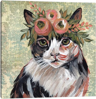 Cat with Floral Crown Canvas Art Print
