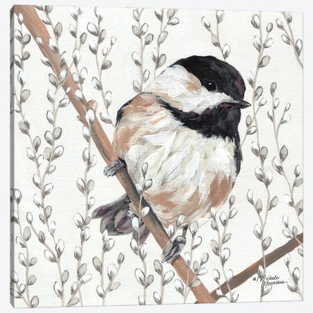 Wee Chickadee Canvas Print #MNO89} by Michele Norman Canvas Wall Art