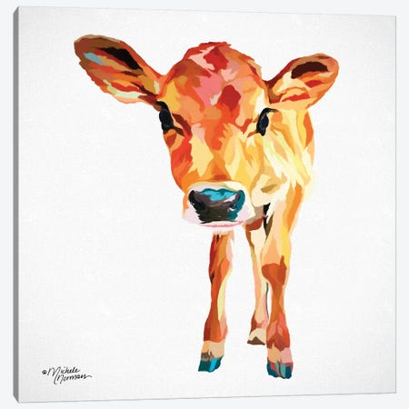 Cute Little Calf Canvas Print #MNO9} by Michele Norman Canvas Art Print