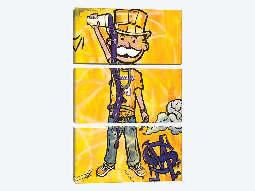 Perp And Yellow by Sinister Monopoly 3-piece Canvas Art Print