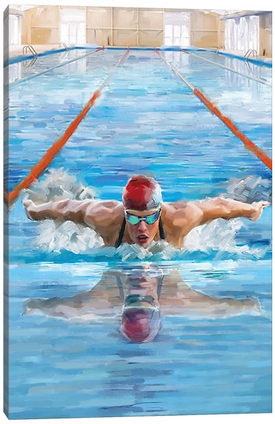 Swimming Canvas Art Print