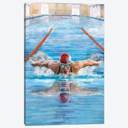 Swimming Canvas Print #MNS118} by The Macneil Studio Art Print
