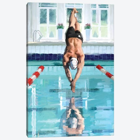 Diving Canvas Print #MNS121} by The Macneil Studio Canvas Artwork