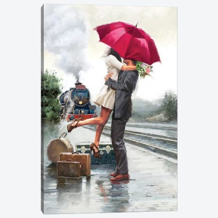 Couple On Train Station Canvas Print #MNS126} by The Macneil Studio Canvas Print
