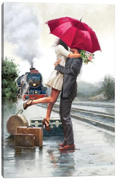 Couple On Train Station Canvas Art Print