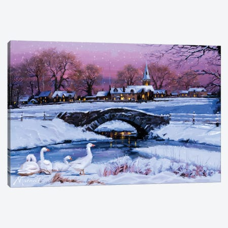 Winter Village Canvas Print #MNS12} by The Macneil Studio Art Print