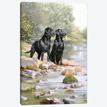 Black Labradors 3-Piece Canvas #MNS139} by The Macneil Studio Canvas Art Print