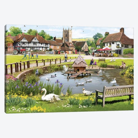 Village Puzzle Canvas Print #MNS153} by The Macneil Studio Canvas Art Print