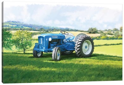 Blue Tractor Canvas Art Print