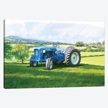 Blue Tractor Canvas Print #MNS160} by The Macneil Studio Canvas Wall Art