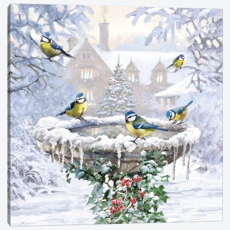 Birdbath Flat Canvas Print #MNS169} by The Macneil Studio Canvas Wall Art