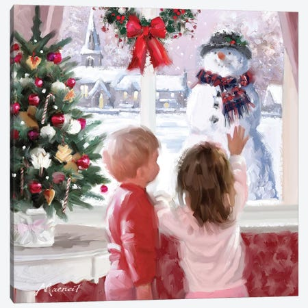 Boy And Girl Looking At Snowman Canvas Print #MNS172} by The Macneil Studio Art Print