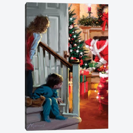 Boy Girl Coming Downstairs Canvas Print #MNS175} by The Macneil Studio Canvas Art