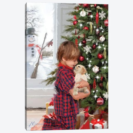 Boy With Puppy Canvas Print #MNS176} by The Macneil Studio Canvas Wall Art