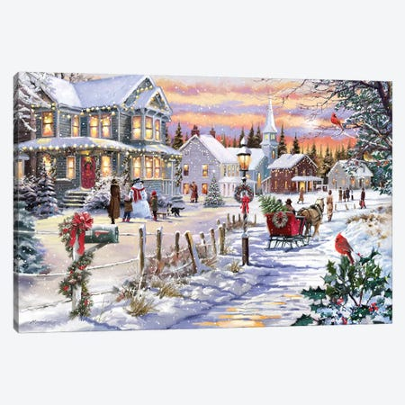 Bringing Home The Tree Canvas Print #MNS177} by The Macneil Studio Canvas Art