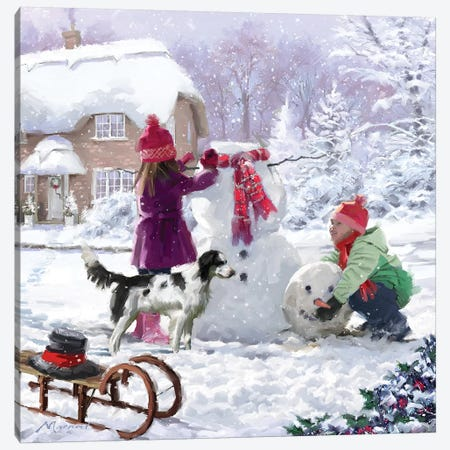 Building Snowman II Canvas Print #MNS179} by The Macneil Studio Canvas Print