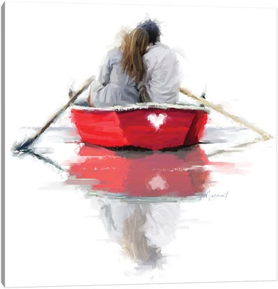 Couple In Boat Canvas Art Print