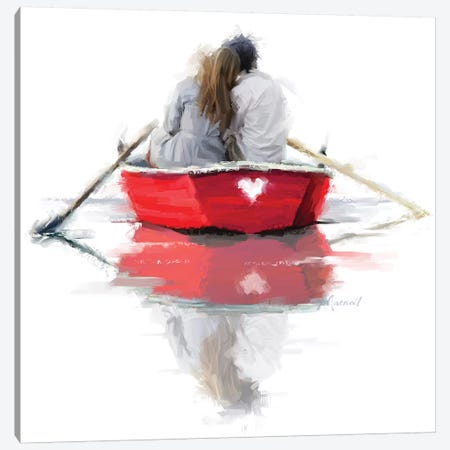 Couple In Boat Canvas Print #MNS17} by The Macneil Studio Canvas Artwork