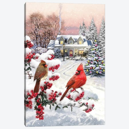 Cardinal Pair Canvas Print #MNS182} by The Macneil Studio Canvas Wall Art
