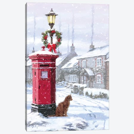 Cat And Postbox Canvas Print #MNS185} by The Macneil Studio Canvas Print