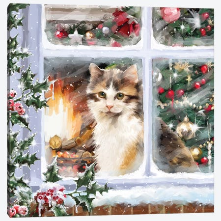 Cat At Window I Canvas Print #MNS186} by The Macneil Studio Art Print