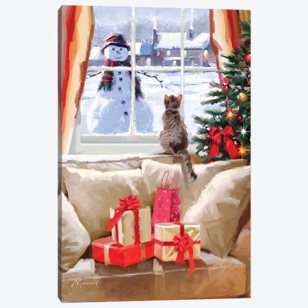 Cat At Window II Canvas Print #MNS187} by The Macneil Studio Art Print