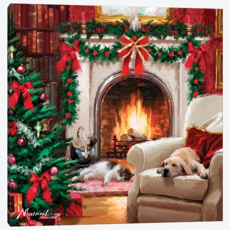 Cat By Fireplace Canvas Print #MNS188} by The Macneil Studio Canvas Art