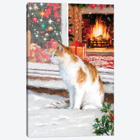 Cat In Snow Canvas Print #MNS189} by The Macneil Studio Canvas Artwork